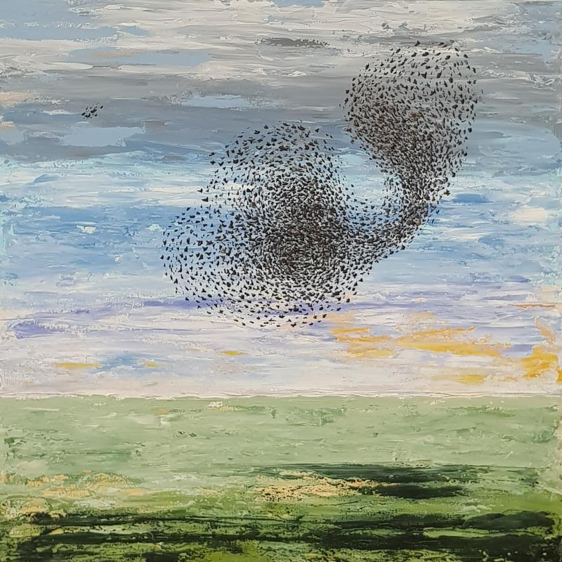 A flock of starlings, 100x100 cm