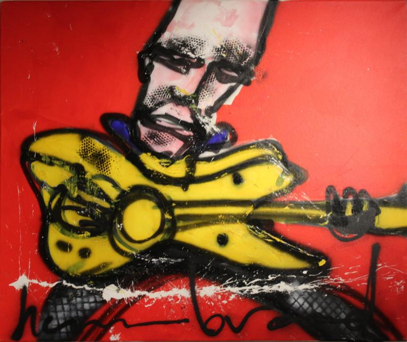 Herman Brood gitarist acryl canvas
