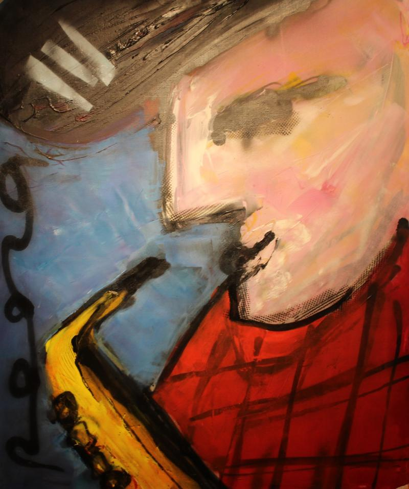 Herman Brood saxefonist acryl canvas