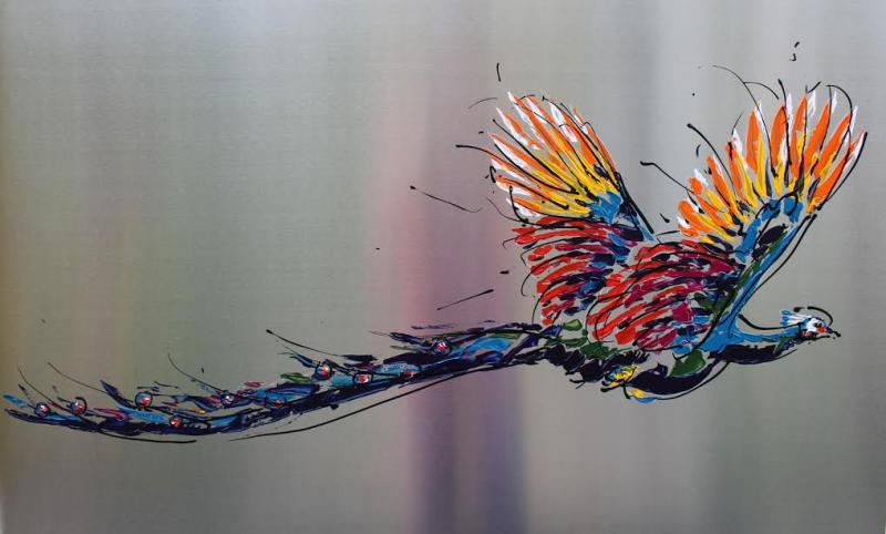 Peacock on steel II, 100 x 150, acryl op RVS
