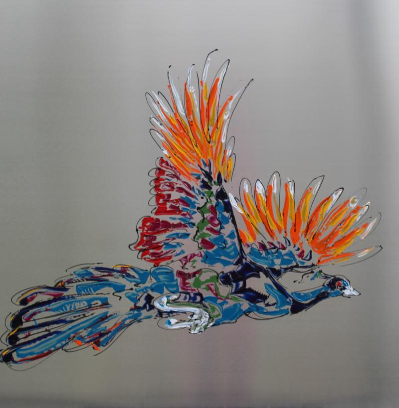 Peacock on steel V, acryl/RVS, 100x100
