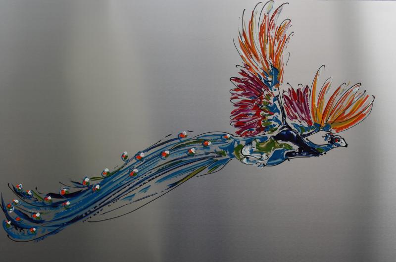 Peacock on steel VII, 80x120cm