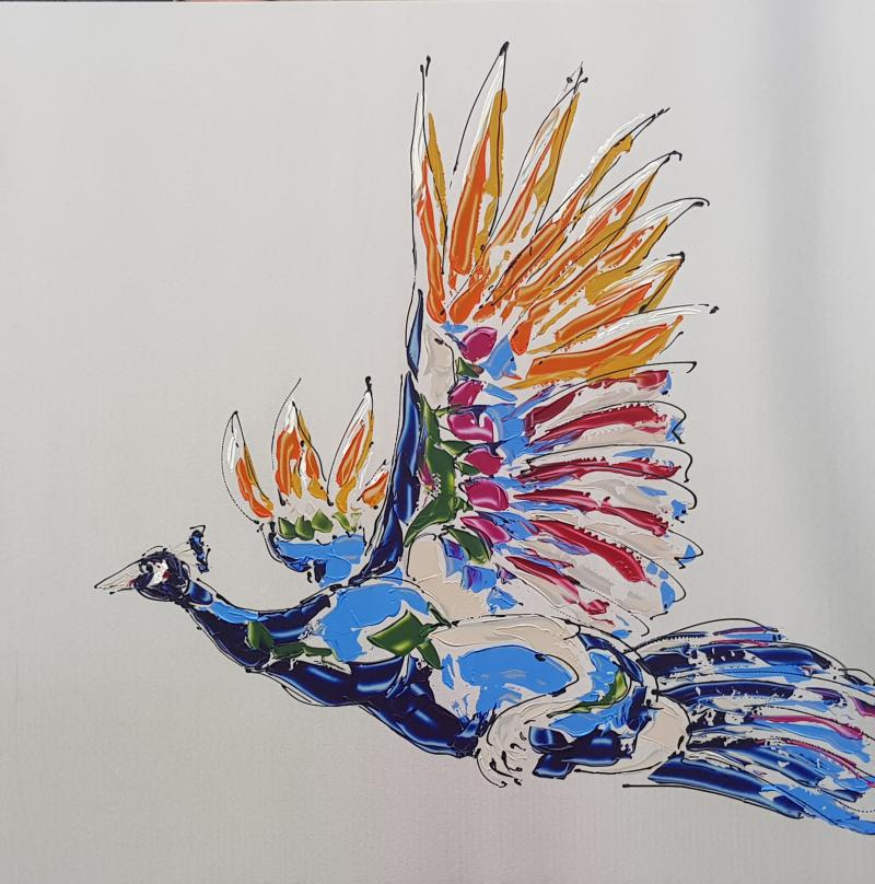 Peacock on steel XIII, 80x80, RVS